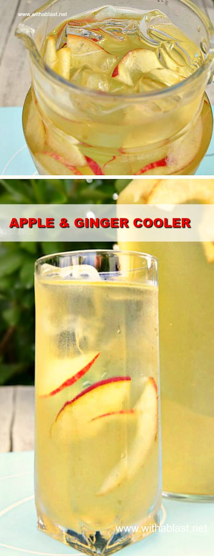 Apple and Ginger Cooler can be made in advance and is not only a delicious, refreshing drink, but also helps with heartburn (kid-friendly too!) #AppleDrink #GingerDrink #MakeAheadRecipe
