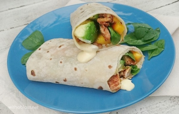 Chicken Avocado Wraps with Chili Mayonnaise is filled with not only Chicken, but Avocado and Mango as well and a kid-friendly Chili Mayonnaise