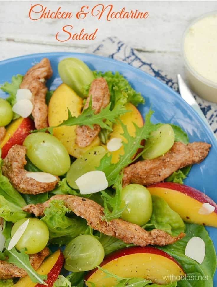 Refreshing, light Chicken and Nectarine Salad, with an Orange dressing, is quick and easy to make and makes the ideal lunch or light dinner on a hot Summer's day #ChickenSalad #SaladRecipes #LightDinnerRecipes