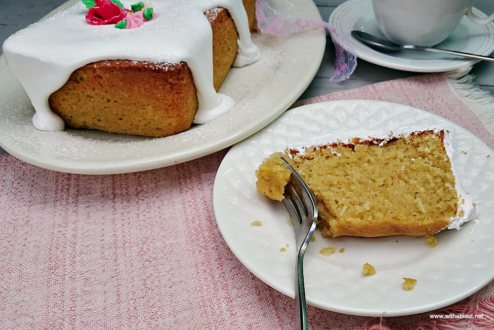 Divine Coconut Cake is a moist, dense cake loaf with the most amazing thick Frosting - perfect for any occasion, dessert or a tea time treat