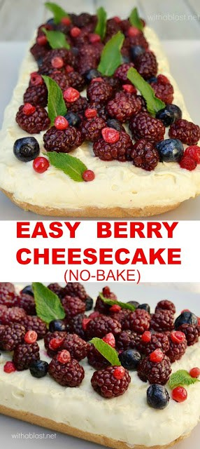 Easy, delicious Spring dessert - No-bake Berry Cheesecake