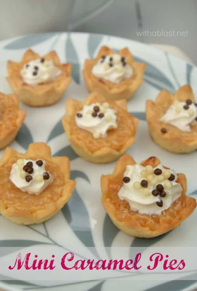 ONLY 3 Ingredients in this gooey, delicious Caramel filling and the Mini Caramel Pies are ready in minutes !