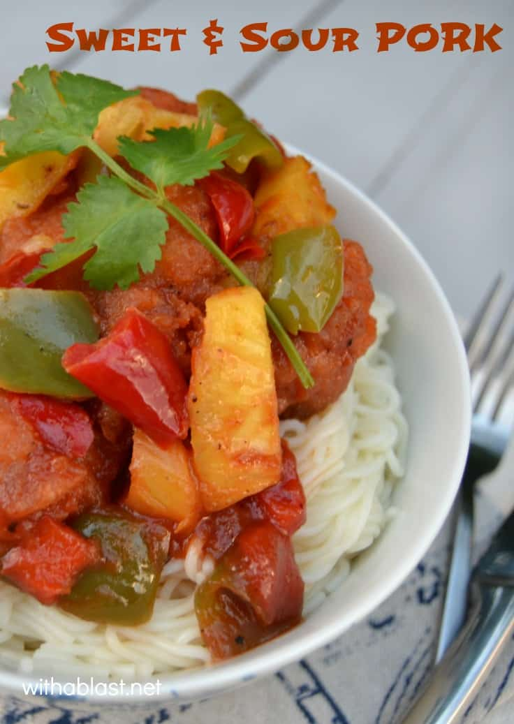 Sweet and Sour Pork is quick and easy to make at home - on the dinner table in 30 minutes and kid-friendly dish too! #Pork #SweetAndSour #Asian #QuickDinner
