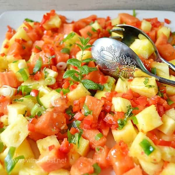 Sweet Chili Paw-Paw (Papaya) and Pineapple Salad