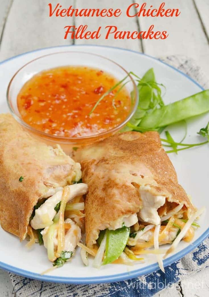 Most amazing filling in these Vietnamese Chicken Filled Pancakes (more like a crepe) and can be used as a filling in wraps, rolls etc #FilledPancakes #VietnameseChicken #EasyChickenRecipes