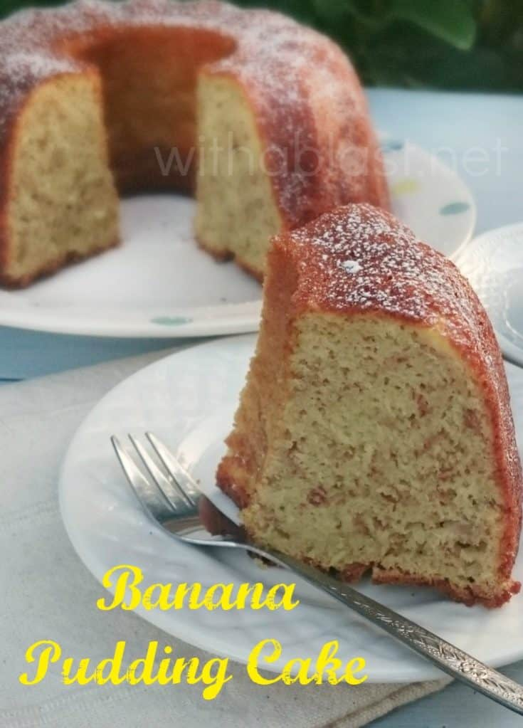 Banana Pudding Cake is so easy to make, mix and bake ! Soft, moist and can be served warm or cold which makes the cake a year round winner #BananaCake #MixNBake #PuddingCake #EasyCakeRecipe #NoFussCake #TeaTimeTreats