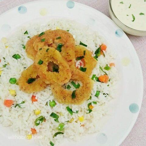 Calamari Veggie Rice and Garlic-Lemon Dip