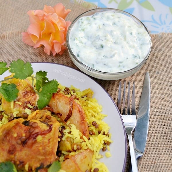 Chicken Breyani with Raita is a spicy, comforting meal to serve on a cool evening - filled with the best spices and all pantry ingredients