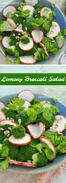 Refreshing, vibrant colors and crunch makes this Lemony Broccoli Salad a feast not only for the eye but also the taste buds {made in minutes too, or you can make it in advance!}