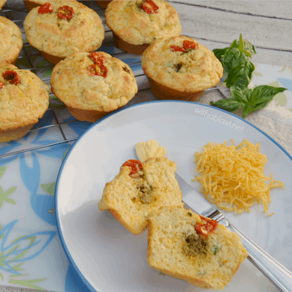Pesto Tomato and Cheese Muffins