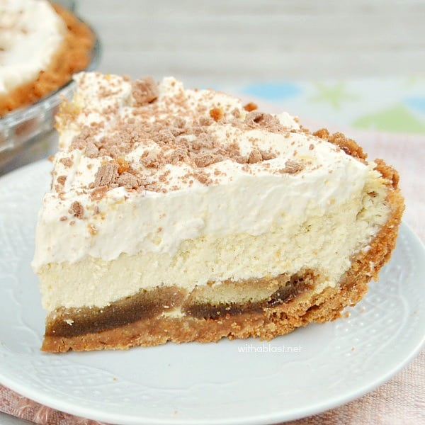"This Tiramisu Pie is silky smooth and extra special with a moist ""extra"" crust and makes the best dessert or tea-time treat ever !"