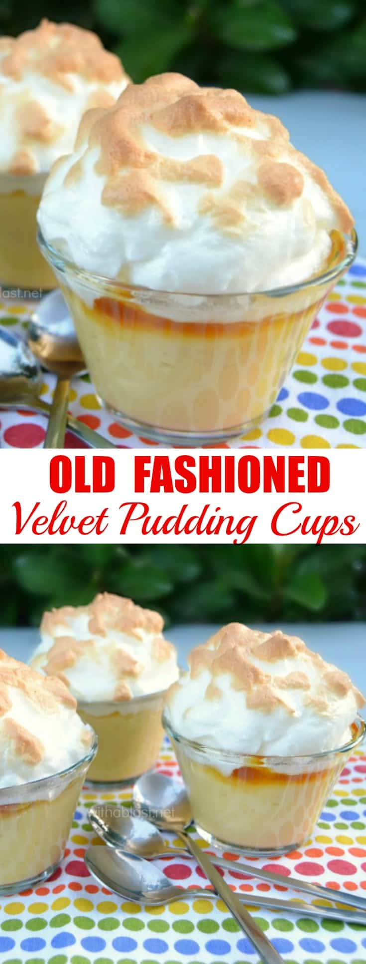 Old-Fashioned Velvet Pudding Cups (also known as Fluweel Poeding) are silky smooth with a delicious sweet layer between the pudding and the meringue - serve warm or at room temperature  #Pudding #FluweelPoeding #BakedDessert