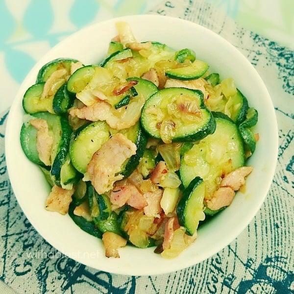 Zucchini with Bacon and Onion