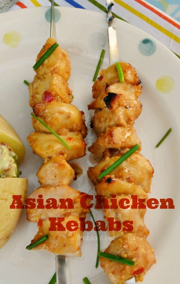 Asian Chicken Kebabs are tender, juicy and a must have recipe for your next BBQ - Quick marinade and ready to grill in 30 minutes