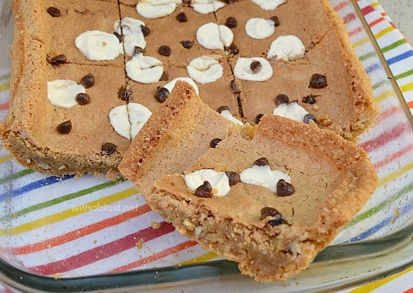 Chewy Blondie Cookie Bars have a gooey center and a crunchy top and edges - double delight and ideal to serve at tea time or for dessert.