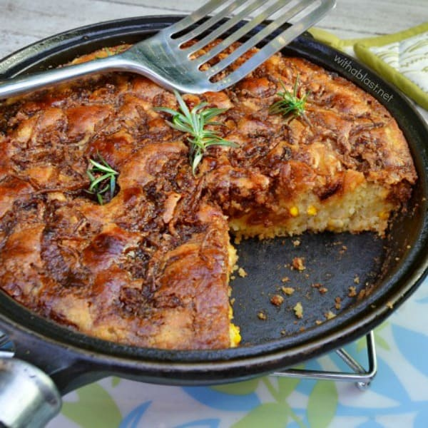 Onion Corn and Cheese Skillet Bread