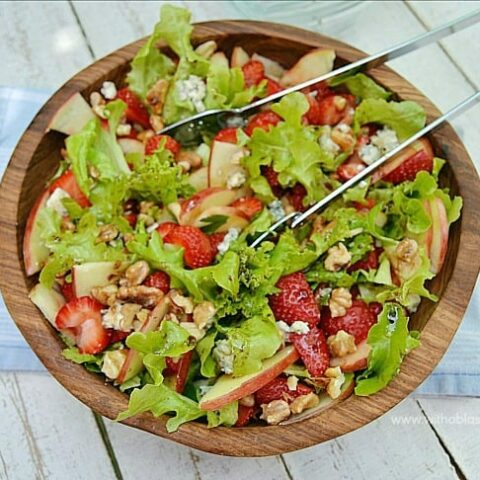 Delicious, refreshing Strawberry Apple and Blue Cheese Salad is ideal to serve with any kind of main meal - easy to make using standard pantry ingredients