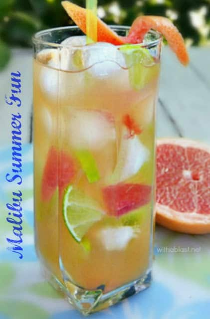 The most FUN, refreshing Malibu Cocktail for this Summer ! Looks very inviting with the green and pink/red fruit pieces and a non-alcoholic alternative is also given.
