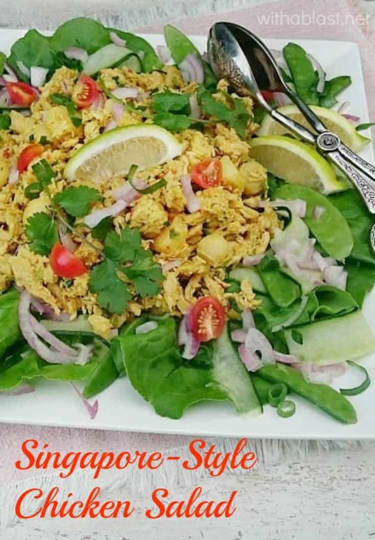 This Singapore-Style Chicken Salad is packed with flavor as well as nutrition and is ideal to serve as a light dinner or lunch #ChickenSalad #SpicyChickenSalad #LightDinnerRecipes