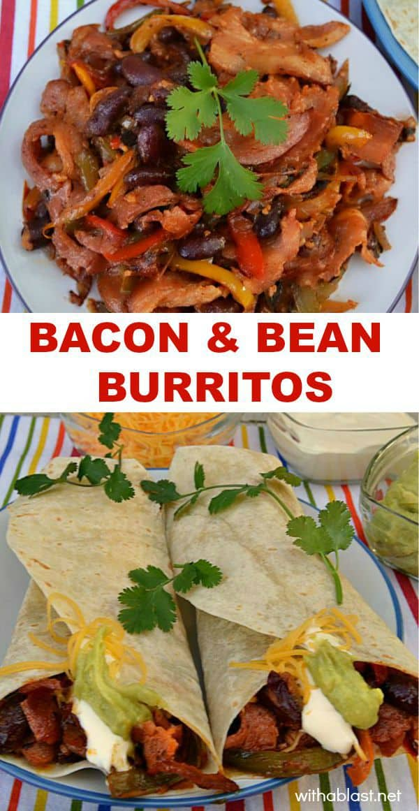 Bacon and Bean Burritos - a quick filling makes these burritos the perfect breakfast or light dinner for this time of year - not too rich, yet filling enough