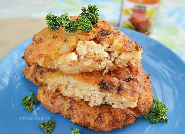 Chicken Cakes have a Chicken filling in a scrumptious Potato and Carrot mixture - (any cooked Chicken can be used) - so perfect for dinner !