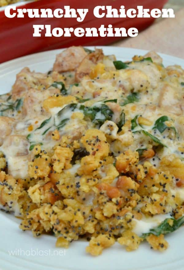Cheesy Chicken smothered in a creamy Spinach/Mushroom sauce with a delicious, easy crunchy topping - perfect week night dinner