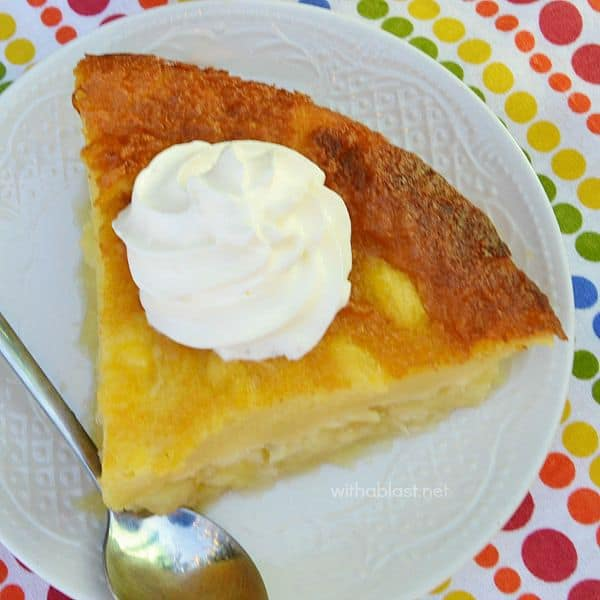 Crustless Pineapple Pie is quick, easy and delicious ~ seconds are always requested when I serve this mix and bake pie !