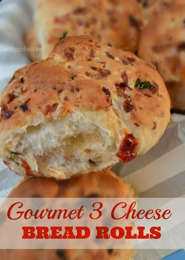 Gourmet 3 Cheese Bread Rolls not only have 3 Cheeses but, Tomato, Basil and more as well and it is the easiest recipe ever - Perfect side ! #EasyRolls #HomemadeRolls #GourmetRolls #DinnerRolls