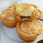 Traditional South-African Milk Tart filling in a crunchy sugar Cookie Cup