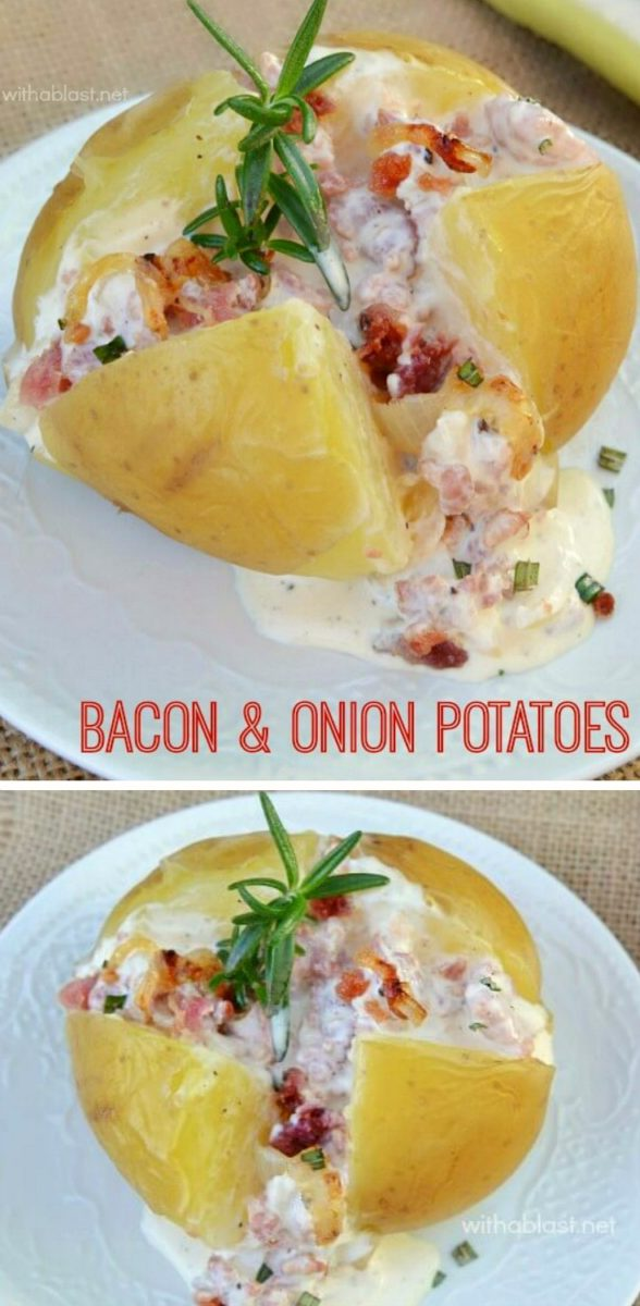 Ultra creamy, Bacon and Onion topped Potatoes ~ serve as an appetizer or side dish