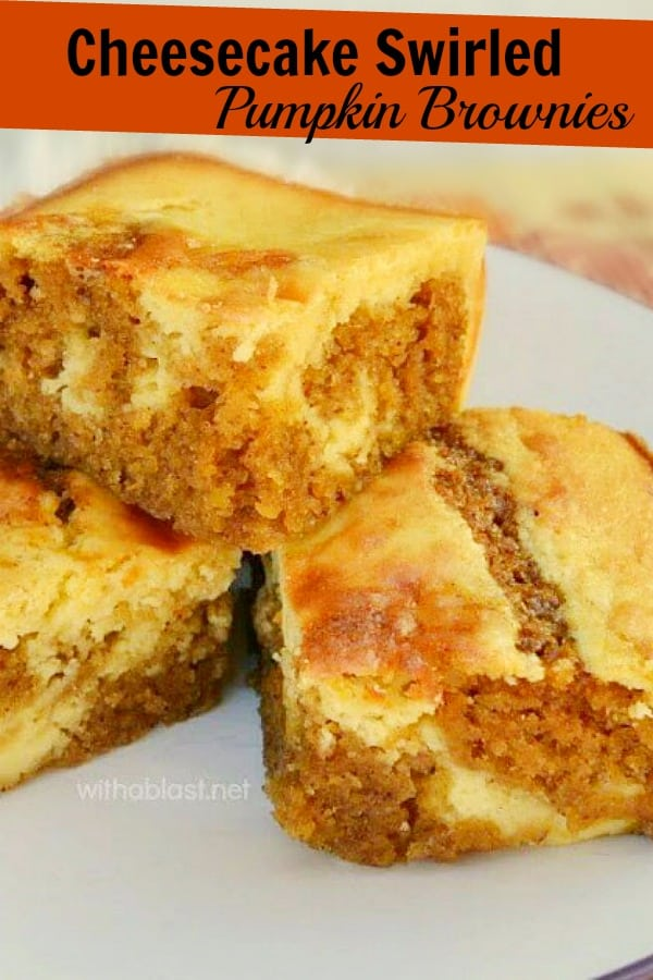 Cheesecake Swirled Pumpkin Brownies