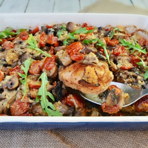 Delicious Italian-Style Chicken is perfect for early Fall weather, not too rich, yet filling and the casserole is packed with low-calorie veggies !