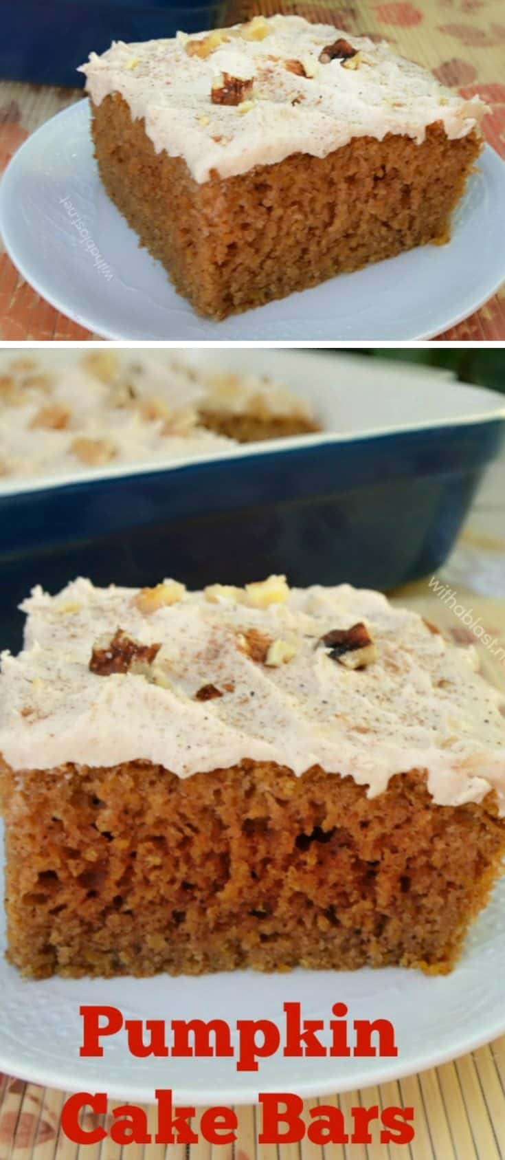 Pumpkin Cake Bars are moist, soft and delicious to serve especially as a Fall dessert, tea time treats or anytime snacking #PumpkinCake #CakeRecipe #EasyPumpkinCake #FallDessert