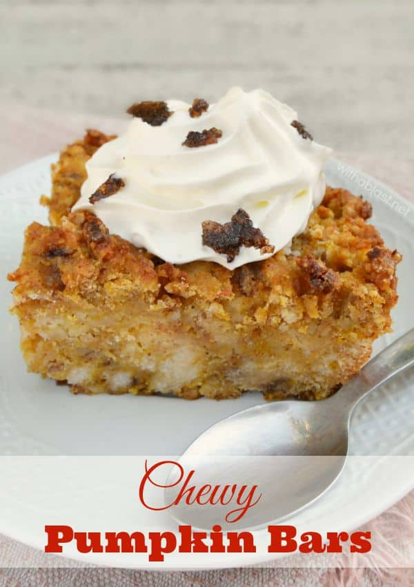 Chewy Pumpkin bars with spices and cinnamon baking chips make this an extremely delicious Fall dessert - so easy, mix and bake !
