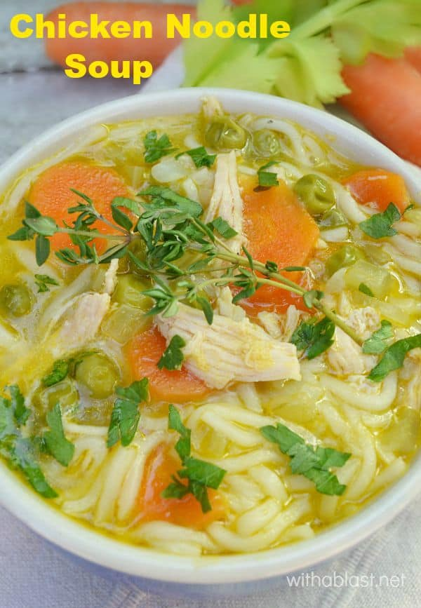 Chicken Noodle Soup is a very tasty, loaded with vegetables, healthy Chicken Soup which is ideal for the colder evenings #ChickenSoup #SoupRecipe #ChickenNoodle #LowFatSoup