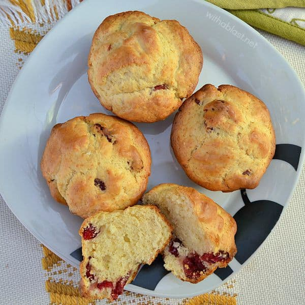 Cranberry Muffins are soft, feather light and the perfect addition to breakfast, brunch or as a lunch box treat