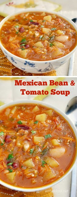 Mexican Bean and Tomato Soup is a rich, hearty, loaded with veggies , spicy soup and of the best comfort foods on a cold day #SpicySoup #TomatoSoup #MexicanSoup #BeanSoup