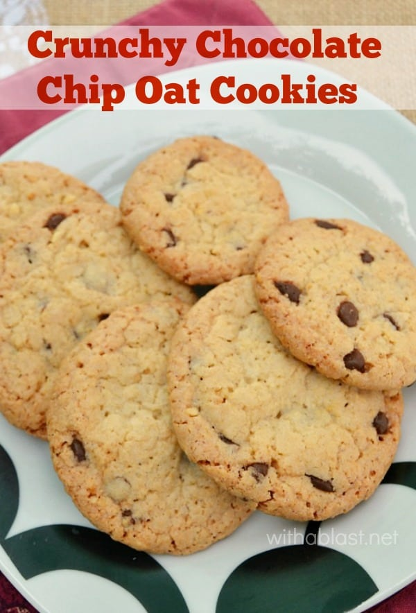 Crunchy Chocolate Chip Oat Cookies are a small batch recipe, but can easily be doubled or even tripled. This is the perfect crunchy cookie recipe ! #Cookies #OatCookies #CrunchyCookies