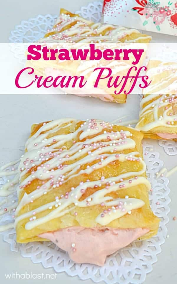 Easy to make Strawberry Cream Pastries, and they are perfect to serve as a Valentine's Day treat, Mother's Day or as an everyday dessert