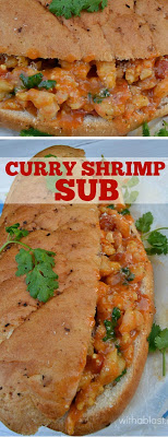 Curry Shrimp Sub is the perfect Friday night dinner or anytime weekend lunch - even kids love this mildly spiced shrimp sandwich #Sandwich #ShrimpSandwich  #EasyShrimp #CurryRecipe