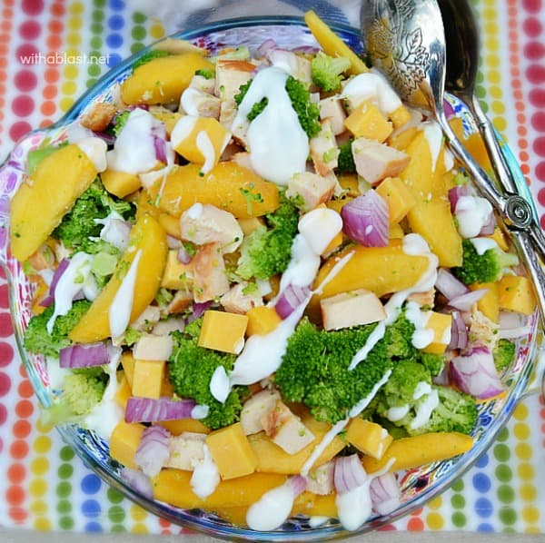 Broccoli and Peach Chicken Salad