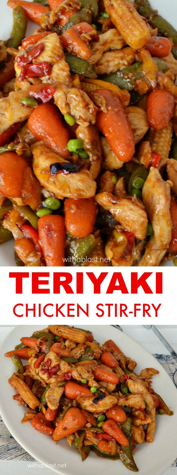 Teriyaki Chicken Stir-Fry is a quick, easy and perfect last minute dinner #ChickenRecipes #TeriyakiChicken #StirFryRecipes