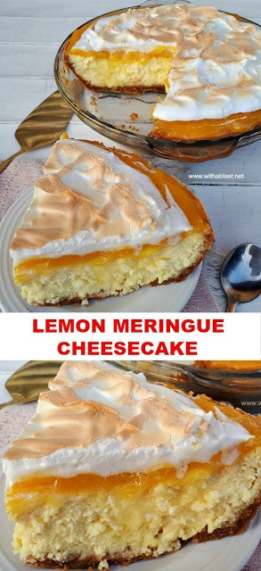 Tart, sweet, decadent Lemon Meringue Cheesecake ! So good - everyone will want the recipe !