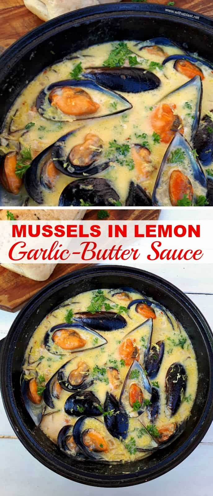 Creamy, garlic-butter Lemon Mussels ~ One of the most delicious appetizers ever !