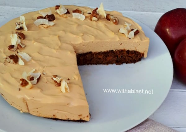 Moist Apple and Carrot Cake, topped with silky smooth Caramel Cheesecake
