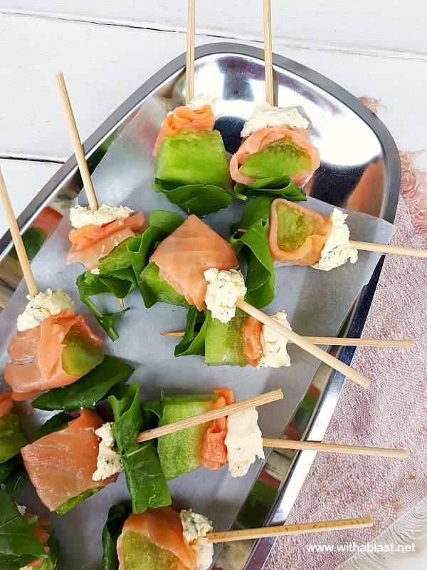 Smoked Salmon Wrapped Melon Skewers are quick and easy to make. Dill Mascarpone and Arugula complete this very tasty, elegant appetizer
