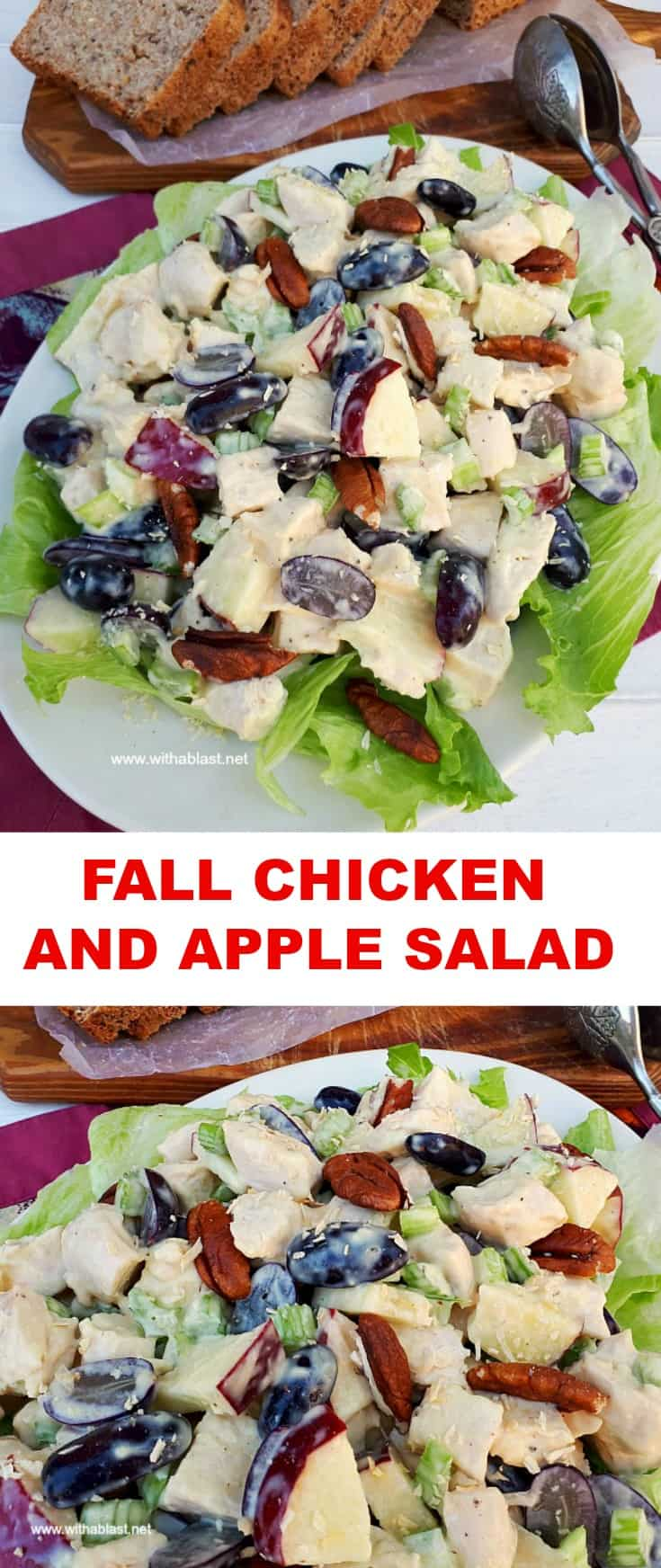 Fall Chicken And Apple Salad is a filling, fruity salad, packed with fruit and perfect to serve as a light dinner or lunch #ChickenSalad #FallSalad #LightDinner #Lunch