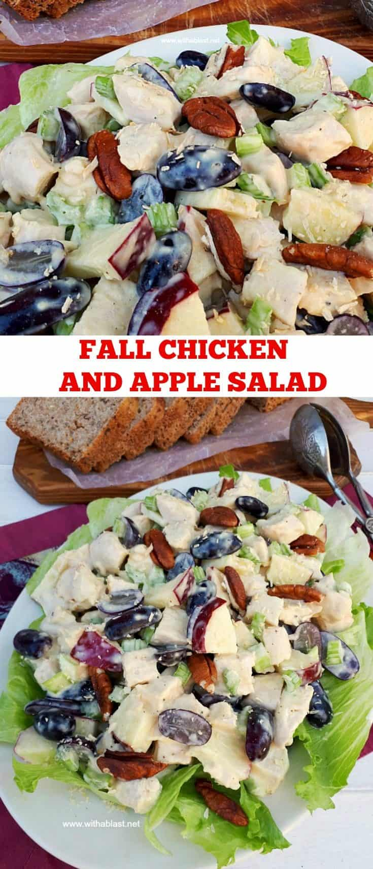 Fall Chicken And Apple Salad is a filling, fruity salad, packed with fruit and perfect to serve as a light dinner or lunch #ChickenSalad #FallSalad #AppleRecipes #ChickenRecipes #AppleSalad #HealthyEating