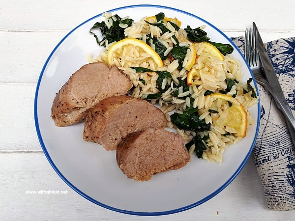 Tender, juicy Honey Lemon Pork Loin With Roasted Lemon Orzo is a quick, filling and delicious week night dinner