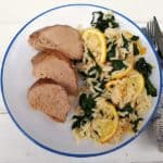 Honey Lemon Pork Loin with Roasted Lemon Orzo